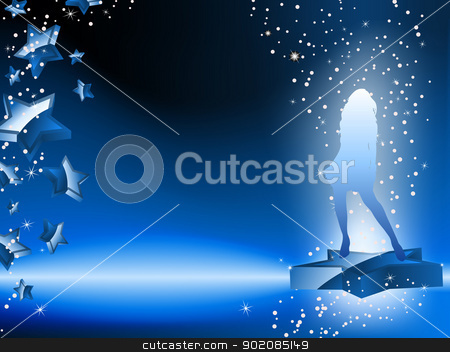 Girl Dancing on Star Blue Flyer stock vector clipart, Girl Dancing on Star Blue Flyer. Editable Vector Image by AUGUSTO CABRAL