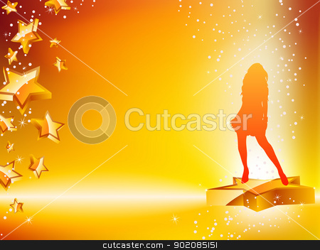 Girl Dancing on Star Yellow Flyer. stock vector clipart, Girl Dancing on Star Yellow Flyer. Editable Vector Image by gubh83