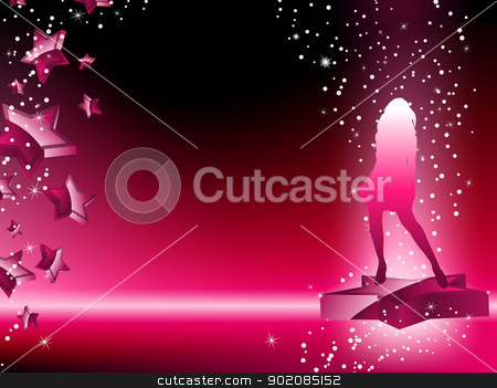 Girl Dancing on Star Pink Flyer stock vector clipart, Girl Dancing on Star Pink Flyer. Editable Vector Image by AUGUSTO CABRAL