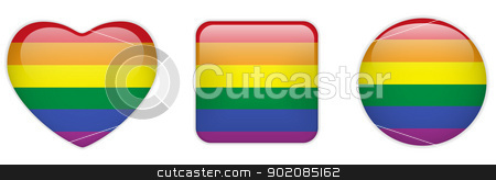 Heart, Square and Circle Glass Buttons Gay stock vector clipart, Vector - Heart, Square and Circle Glass Buttons Gay by AUGUSTO CABRAL