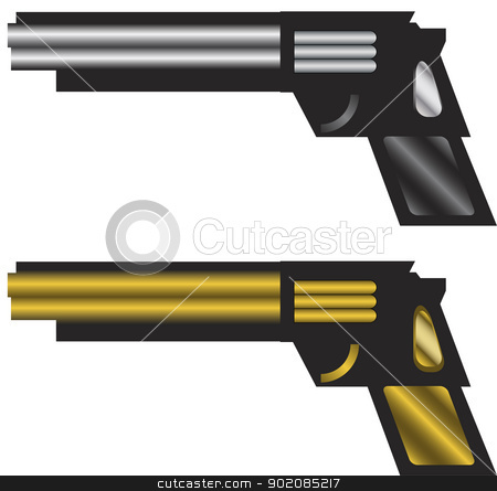Silver and Golden Modern Stylized Automatic Guns stock vector clipart, Silver and Golden Modern Stylized Automatic Guns by Augusto Cabral Graphiste Rennes