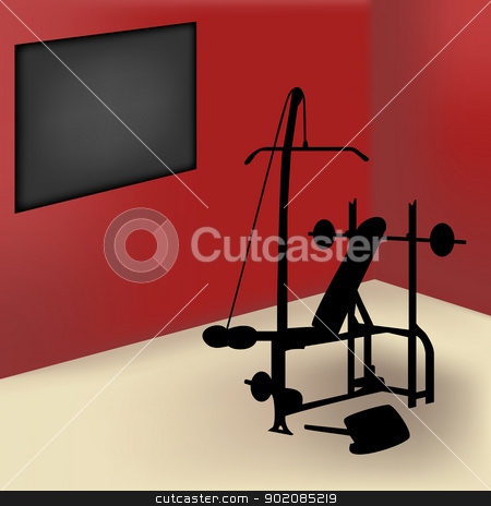 Gym Room stock vector clipart, Gym equipment in red room with board for announce by gubh83