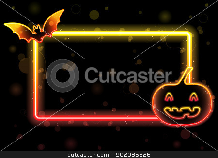 Halloween Lights Frame with Bat and Pumpkin stock vector clipart, Vector - Halloween Lights Frame with Bat and Pumpkin by gubh83