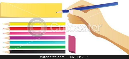 Hand writing on note with set of colored pencils. stock vector clipart, Hand writing on note with set of colored pencils. by Augusto Cabral Graphiste Rennes