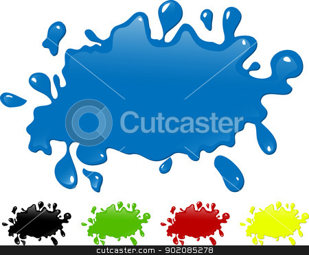 Several colors ink splash. stock vector clipart, Several colors ink splash. Editable Vector Image by Augusto Cabral Graphiste Rennes
