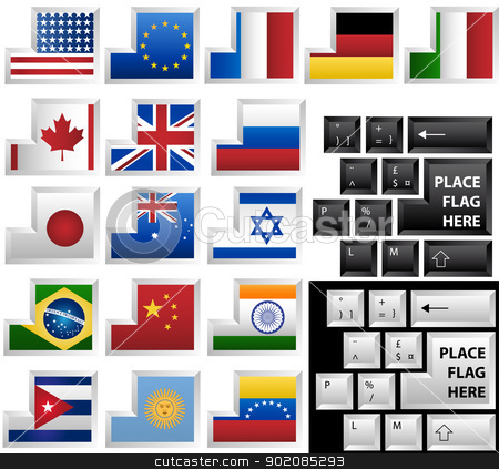 Keyboard with 17 different keys as flags stock vector clipart, Black and White vector keyboards with 17 different keys as flags by gubh83
