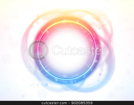 Rainbow Circle Border Brush Effect. stock vector clipart, Vector - Rainbow Circle Border Brush Effect. by gubh83