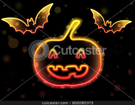 Halloween Neon Background with Pumpkin and Bats stock vector clipart, Vector - Halloween Neon Background with Pumpkin and Bats by gubh83
