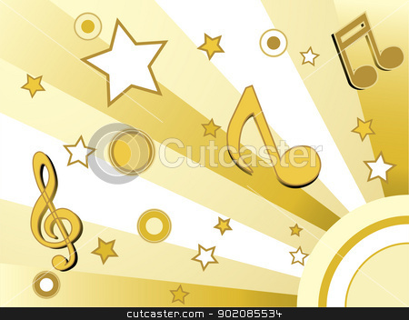 Stars and circles background stock vector clipart, Stars and circles golden retro background by Augusto Cabral Graphiste Rennes
