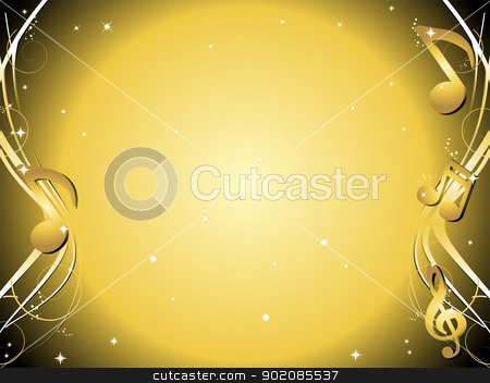 Golden Music notes background stock vector clipart, Golden background with music notes and ornaments by gubh83