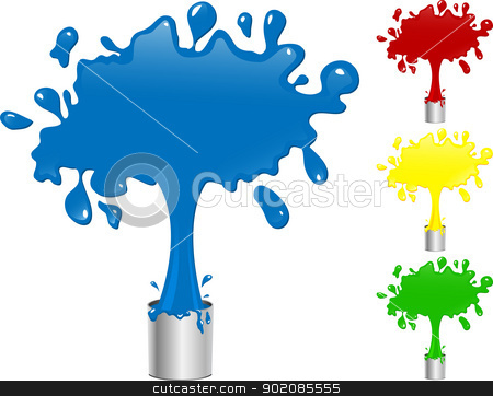 Blue, Red, Yellow and Green Paint Splash Buckets. stock vector clipart, Blue, Red, Yellow and Green Paint Splash Buckets. Editable Vector Illustration by AUGUSTO CABRAL