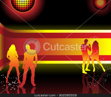 Party Silhouette stock vector clipart, Couples in a party with beautiful background in perspective by Augusto Cabral Graphiste Rennes