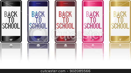 Phone Back to School stock vector clipart, Set of 5 different colors modern phones with back to school message by gubh83