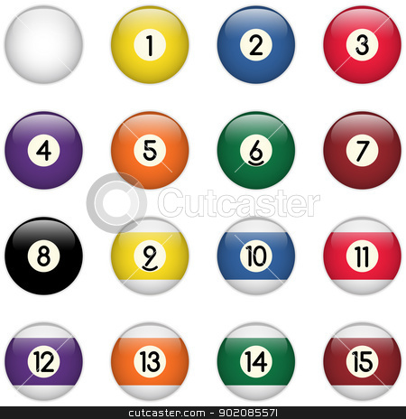 Colored Pool Balls Set from Zero to Fifteen stock vector clipart, Vector - Colored Pool Balls Set from Zero to Fifteen by gubh83