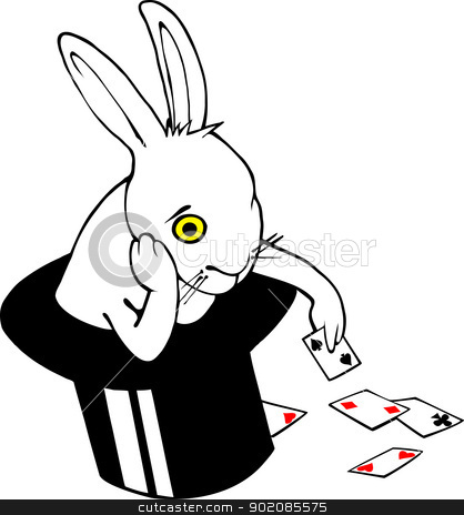 Bored bunny in magic hat stock vector clipart, Bored white rabbit playing cards in magician hat. Hand drawn Vector image on China/Indian Ink Style (Nankeen) by AUGUSTO CABRAL