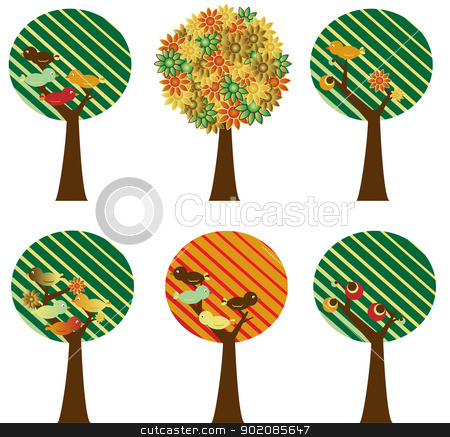 Set of retro trees stock vector clipart, Set of 6 retro trees with flowers, birds and fruits by gubh83