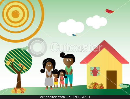 Retro style family in landscape stock vector clipart, Retro style family in a background with tree, sun, clouds, flowers and birds by Augusto Cabral Graphiste Rennes