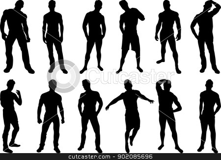 Men Silhouettes stock vector clipart, Set of 12 sexy men silhouettes on white background by AUGUSTO CABRAL