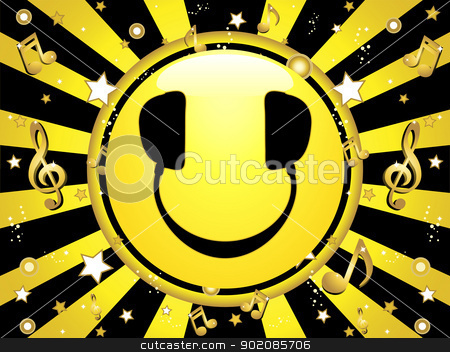 Smiley DJ Party Background stock vector clipart, Smiley DJ Party Background with stars and music notes by AUGUSTO CABRAL