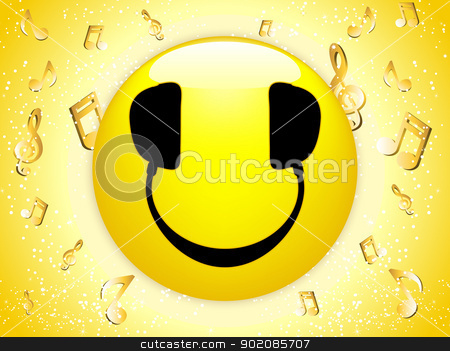 Smiley DJ Background with Music Notes and Stars.  stock vector clipart, Smiley DJ Background with Music Notes and Stars. Editable Vector Image by AUGUSTO CABRAL