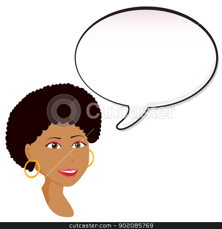 Black Woman announcement with speech bubble. stock vector clipart, Black Woman announcement with speech bubble. Editable Vector Illustration by gubh83
