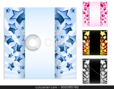 Star Card with Stripes. Set of 4 layouts stock vector clipart, Vector - Star Card with Stripes. Set of 4 layouts by AUGUSTO CABRAL