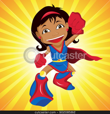 Black Super hero Girl.  stock vector clipart, Black Super hero Girl. Editable Vector Illustration by Augusto Cabral Graphiste Rennes