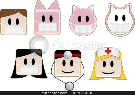 Swine Flu stock vector clipart, Icons illustrating swine flu patients and animals by gubh83