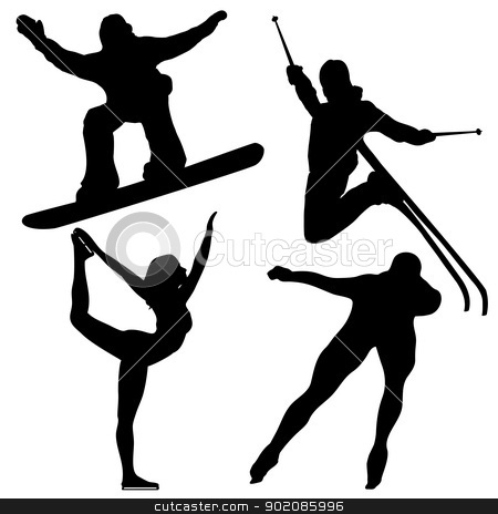 Black Winter Games Silhouettes. stock vector clipart, Black Winter Games Silhouettes. Editable Vector Image by gubh83