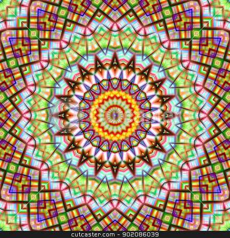 Colorful kaleidoscopic abstract circular pattern. stock photo, Colorful kaleidoscopic abstract circular pattern. by Stephen Rees