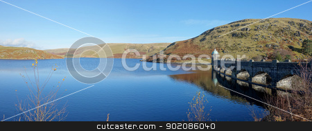 Craig Goch reservoir and dam arches panorama, Elan Valley Wales UK.  stock photo, Craig Goch reservoir and dam arches panorama, Elan Valley Wales UK.  by Stephen Rees
