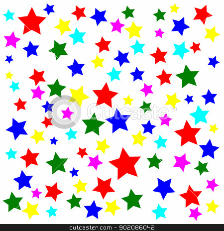 Lots of multicolored stars on a white background. stock photo, Lots of multicolored stars on a white background. by Stephen Rees
