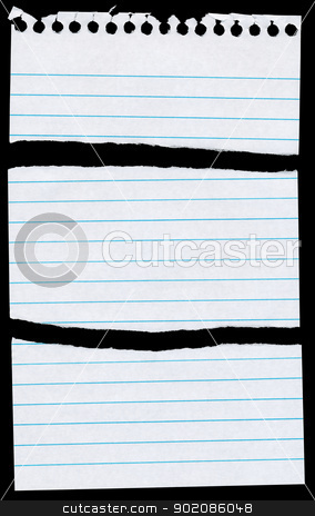 Notepaper page torn in 3 pieces isolated on black. stock photo, Notepaper page torn in 3 pieces isolated on black. by Stephen Rees