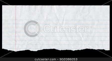 Torn white lined paper page top isolated on black. stock photo, Torn white lined paper page top isolated on black. by Stephen Rees
