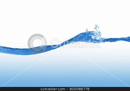 water splash stock photo, Clean blue water splash on white background illustration by Sergey Nivens
