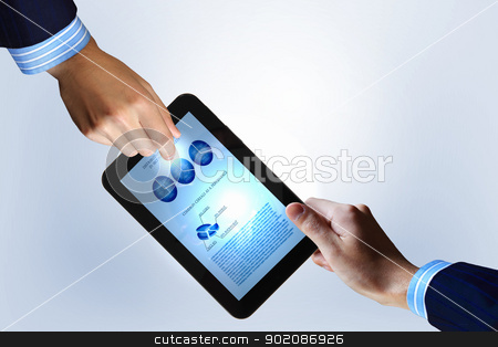Modern computer technology in business stock photo, Modern computer technology in business illustration with wireless device by Sergey Nivens