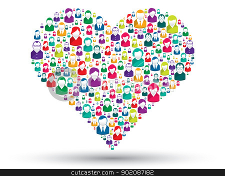 Social heart stock vector clipart, Social love: A heart made of icons to express love people in social media by Aurelio Scetta