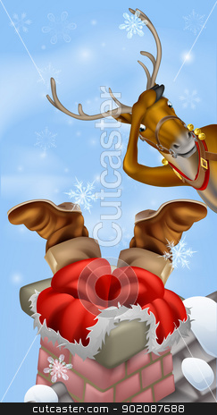 Santa in chimney and reindeer stock vector clipart, Humorous Christmas drawing of Santa Claus stuck in a chimney while his reindeer looks on in despair by Christos Georghiou