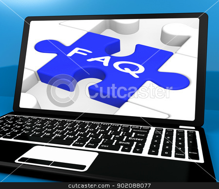 FAQ Puzzle On Notebook Showing Online Support stock photo, FAQ Puzzle On Notebook Showing Online Support And Website Assistance by stuartmiles