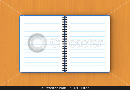 Blue paper notebook spread out on plywood  stock photo, 3D model of blue paper notebook spread out on plywood by mrdoggs