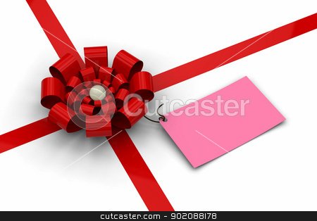 Red bow with blank pink tag stock photo, 3D model of red bow with blank pink tag by mrdoggs