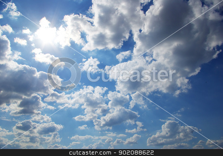 sunny sky stock photo, sunny sky background whith  clouds by Vitaliy Pakhnyushchyy