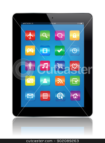 Tablet Apps stock vector clipart, This image represents a Tablet with Apps. / Tablet Apps by Bagiuiani Kostas