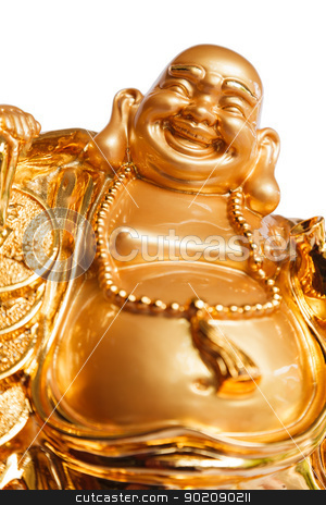 Smiling Buddha stock photo, Smiling Buddha - Chinese God of Happiness, Wealth and Lucky Isolated on white background by pattarastock