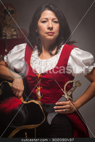Dramatic Female Pirate Scene stock photo, Dramatic Female Pirate in a Dimly Lit Moody Scene. by Andy Dean