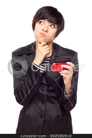 Pensive Young Mixed Race Woman with Cell Phone on White stock photo, Pensive Young Mixed Race Woman Holding Her Mobile Phone and Looking to the Side Isolated on a White Background. by Andy Dean