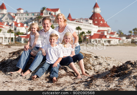 Happy Caucasian Family in Front of Hotel Del Coronado stock photo, Happy Caucasian Family in Front of Hotel Del Coronado, U.S.A., on a Sunny Afternoon. by Andy Dean