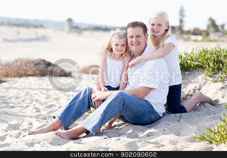 Handsome Dad and His Cute Daughters at The Beach stock photo, Handsome Dad and His Cute Daughters Portrait at The Beach by Andy Dean