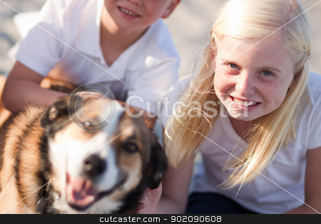 Cure Girl Playing with Her Dog Outside stock photo, Cute Girl Playing with Her Dog at the Beach. by Andy Dean