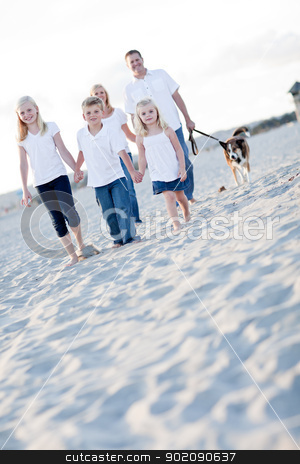 Adorable Children and Family on a Walk stock photo, Adorable Children and Family on a Walk at the Beach. by Andy Dean